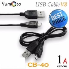Yumoto Kabel Data Charger Micro Usb Samsung Bb Asus Xiaomi Android CB-40-warna hitam