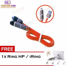 Yumoto Kabel Data Multifungsi 2 IN 1 - Iphone 5 & Android / Microusb to Lightning - Orange + Free Iring / Ring Stand