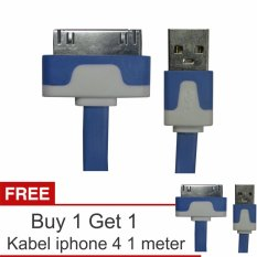 Yumoto Kabel Data Pipih iPhone 4/4S 1 Meter + Buy 1 Get 1
