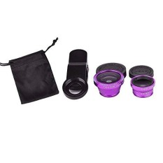 Yunmiao Purple Universal Clip-on 180 degree 3 in 1 Fisheye+Wide Angle+Macro Camera Lens Kit for iPhone 5 5S 4 4S 6 Samsung Galaxy S5/S4/S3 Note 4/3/2 HTC Blackberry Bold Touch, Sony Xperia, Motorola Droid - intl