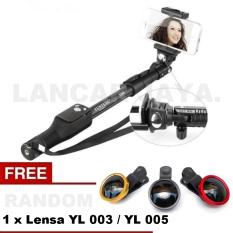 Yunteng Tongsis Monopod Bluetooth YT-1288 / Selfie Stick (Hitam) + Lensa YL 005 / YL 003