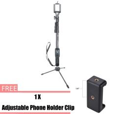 Yunteng Yt-1288 Bluetooth Remote Dapat Diperpanjang Handheld Selfie Stick Monopod + Logam tripod mini untuk Ponsel Android IOS-Intl