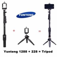 Yunteng YT-1288 Selfie Tongkat Monopod dengan Bluetooth Jarak Jauh Shooting + 228 Mini Tripod untuk iPhone 5 6 6 S samsung GoPro Sony Kamera-Internasional