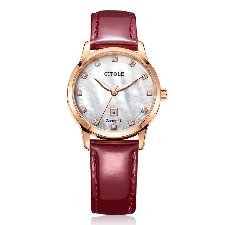 ... yydsop Bontek electronic CITOLE Ladies Watch Leather diamond authentic Korean simple calendar temperament leather waterproof quartz