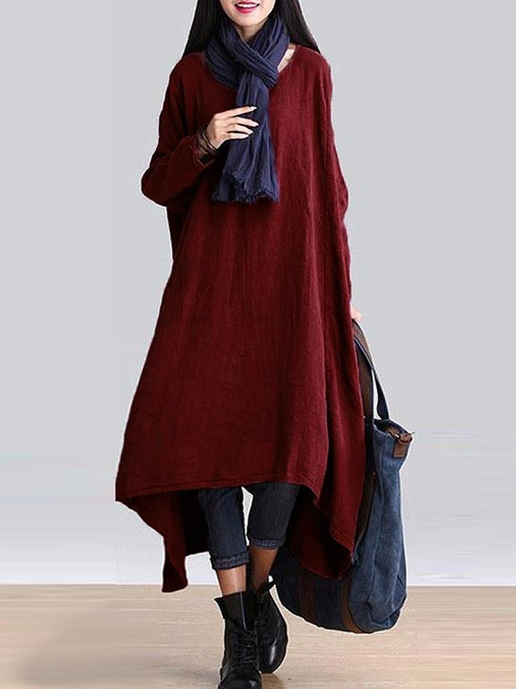 Jual Zanzea 2017 Wanita O Leher Lengan Panjang Oversize Kausal Line Plain Irreugular Hem Swing Midi Gaun Merah Anggur Internasional Import