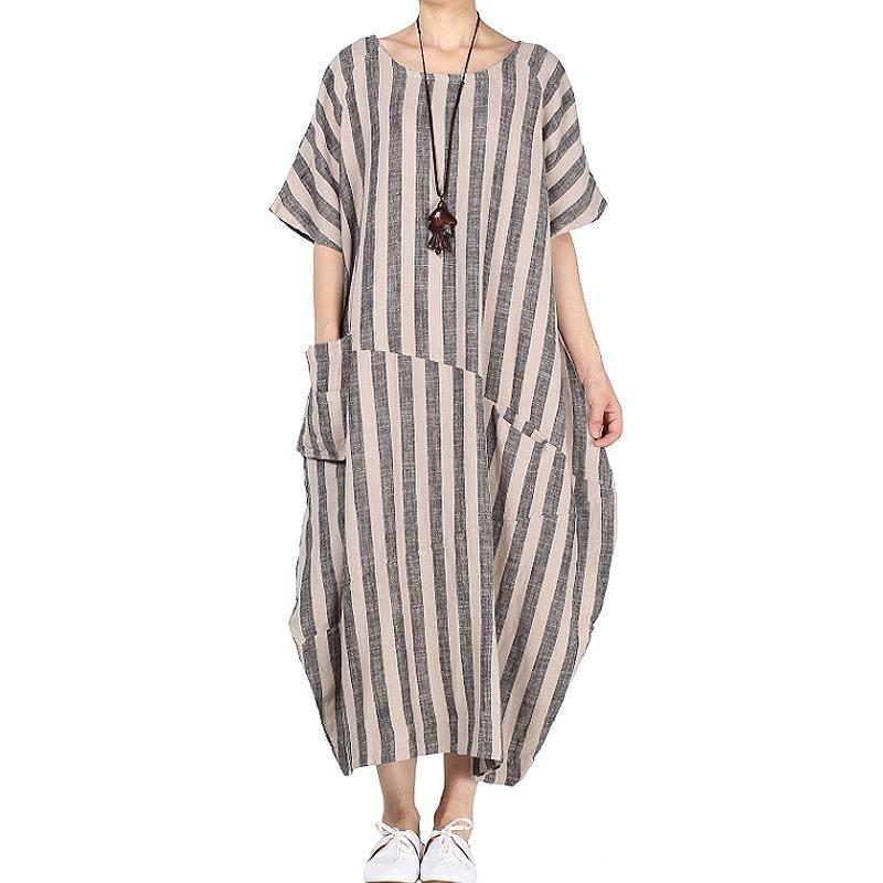 ZANZEA 2018 Spring Fashion Wanita Lengan Pendek CREW Leher Kantong Kaftan Retro Casual Striped Baggy Gaun Vestidos Plus Ukuran Dark Grey-Intl