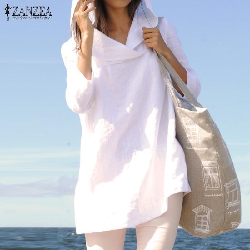 Harga Zanzea Atasan Wanita Musim Gugur Santai Longgar Hooded Blusas Lengan Panjang Vintage Solid Cotton Panjang Blus Kemeja Ukuran Plus Putih Terbaik