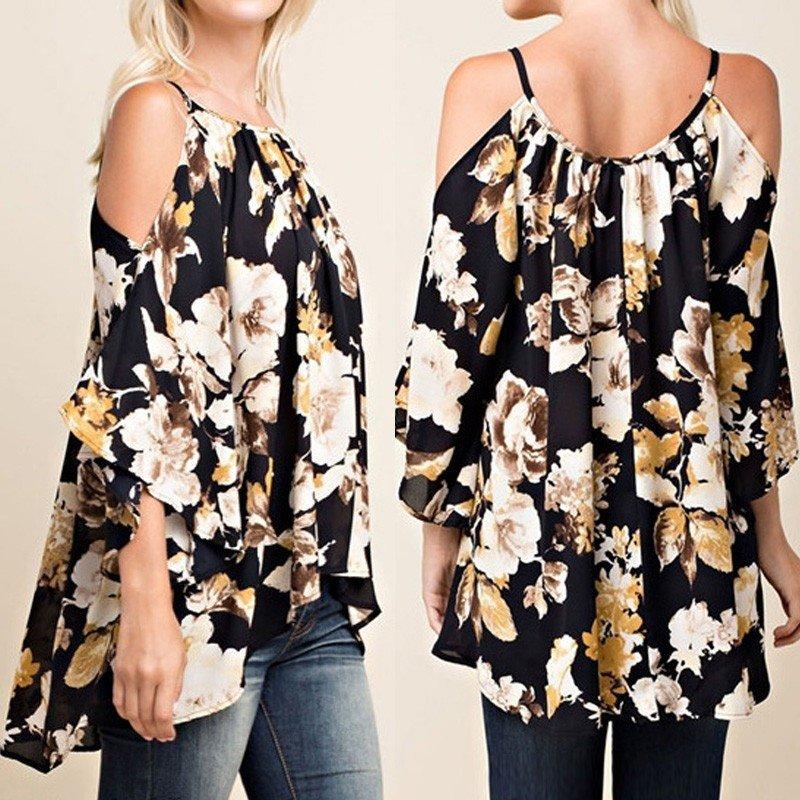Spesifikasi Zanzea Fashion Atasan Wanita 3 4 Lengan Floral Blus Off Bahu Seksi Pakaian Atas Internasional Beserta Harganya