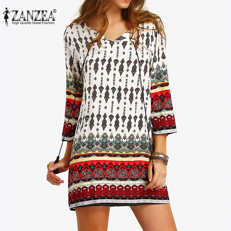 Toko Zanzea Fashion Boho Wanita Panjang Lengan Floral Cetak Pendek Longgar Kemeja Mini Dress Plus Ukuran Lebih Internasional Online Terpercaya