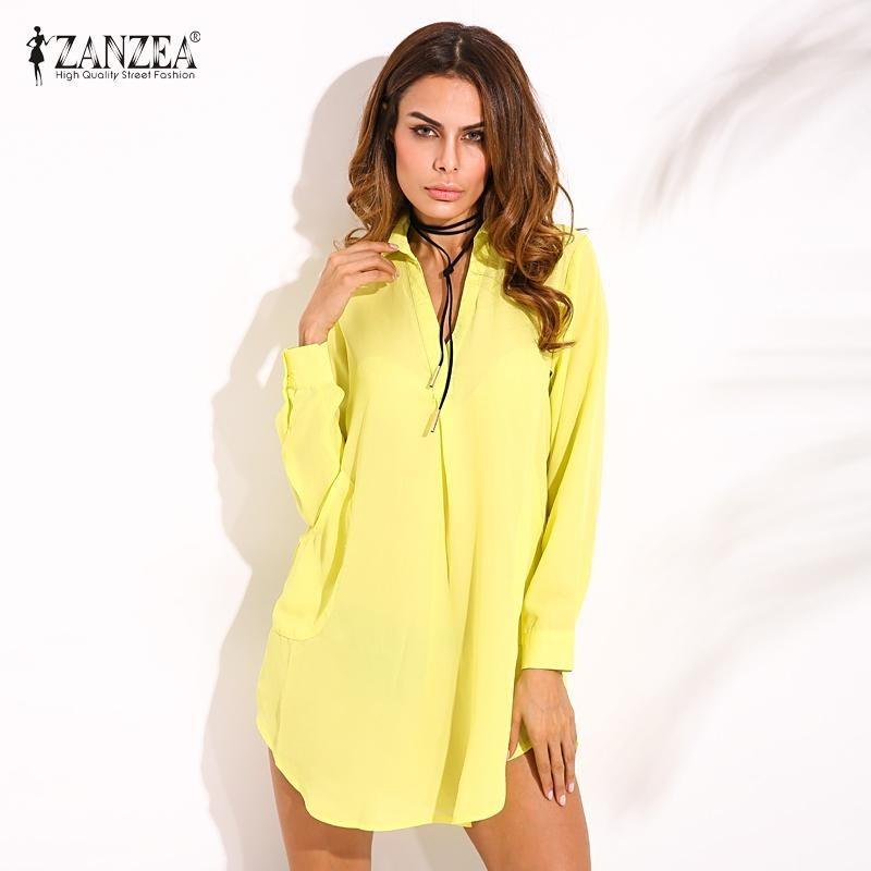 Zanzea Fashion Wanita Kasual Baju Longgar Lihat Melalui Chiffon Lengan Panjang Lapel Plus Ukuran (Kuning)-Intl