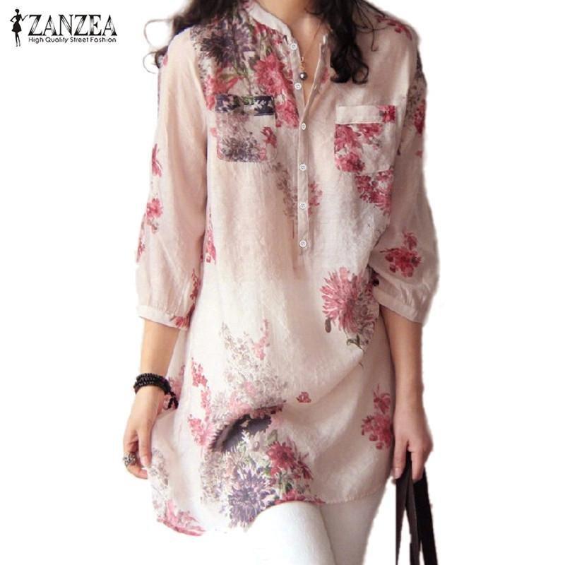 Review Zanzea Fashion Wanita V Neck Tombol Kemeja Linen Plus Ukuran Blus Kasual Antik Motif Bunga Panjang Merah Internasional Terbaru