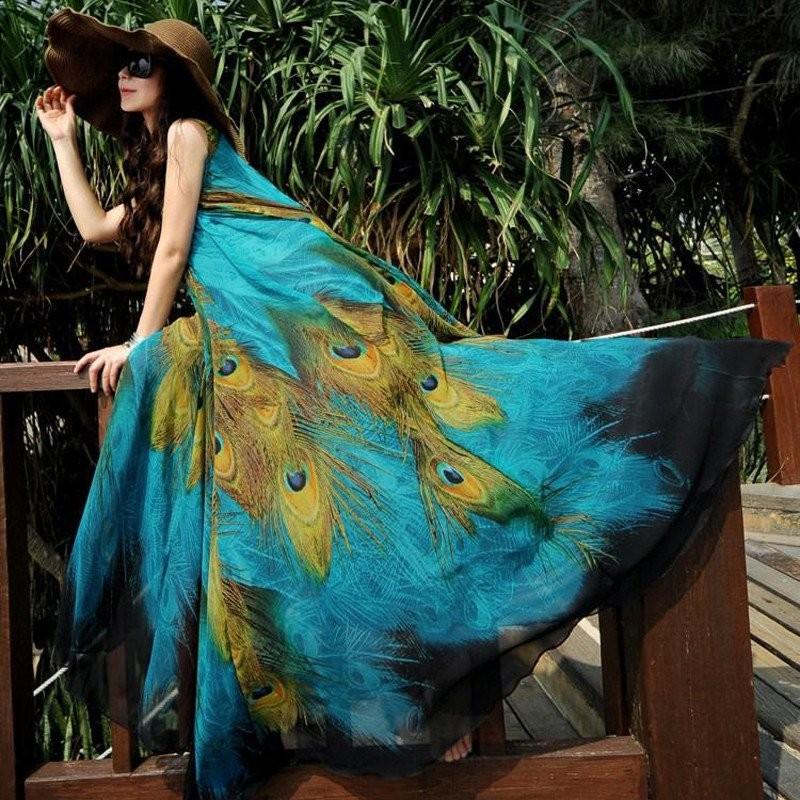 Harga Zanzea Fashion Wanita Vintage Bohemia Ladies Lengan Floral Cetak Musim Panas Beck Longgar Gaun Panjang Maxi Internasional Terbaik