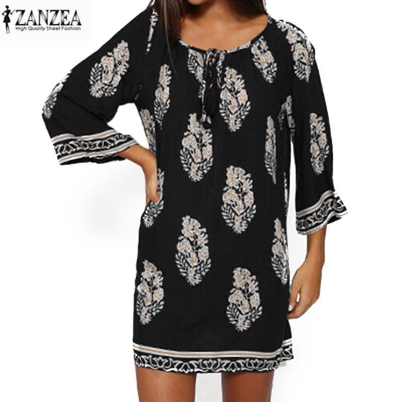 Zanzea Wanita Bohe 3 4 Lengan Longgar Vintage Cetak Pesta Pantai Panjang Baju Kemeja Hitam Intl Diskon Tiongkok