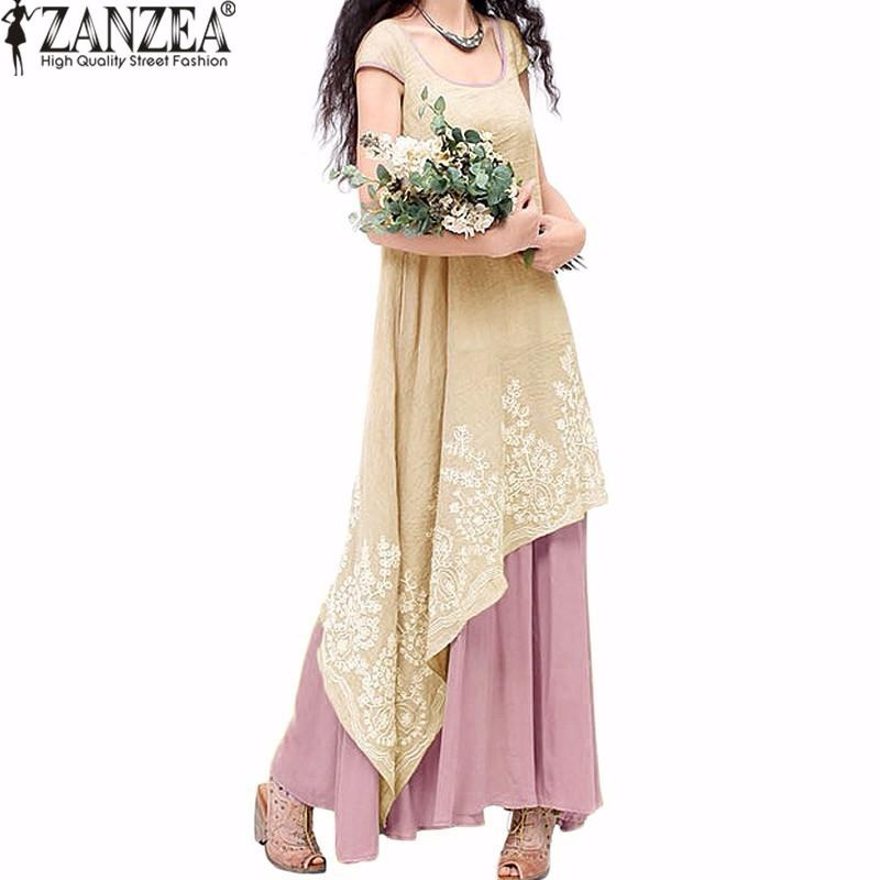Jual Zanzea Wanita Gaya Nasional Musim Panas Casual Loose Short Sleeve Gaun Floral Bordir Dua Lapisan Vestido Antik Baru Dusty Pink Intl Ori