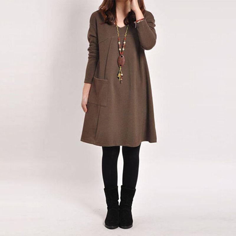 Harga Zanzea Wanita Lengan Baju Panjang Saku V Leher Puncak Santai Gaun Mini Hamil Katun Longgar Kopi Terbaru