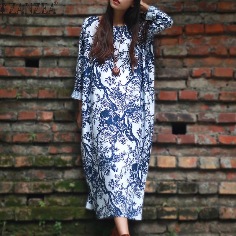 Spesifikasi Zanzea Wanita Panjang Lengan Longgar Kasual Floral Print Plus Panjang Gaun Maxi Kaftan Putih Intl Yang Bagus Dan Murah