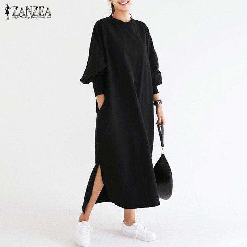 Jual Zanzea Wanita Striped Dress Batwing Lengan Panjang O Leher Lepas Longgar Split Maxi Long Gaun Vestidos Hitam Intl Zanzea Murah