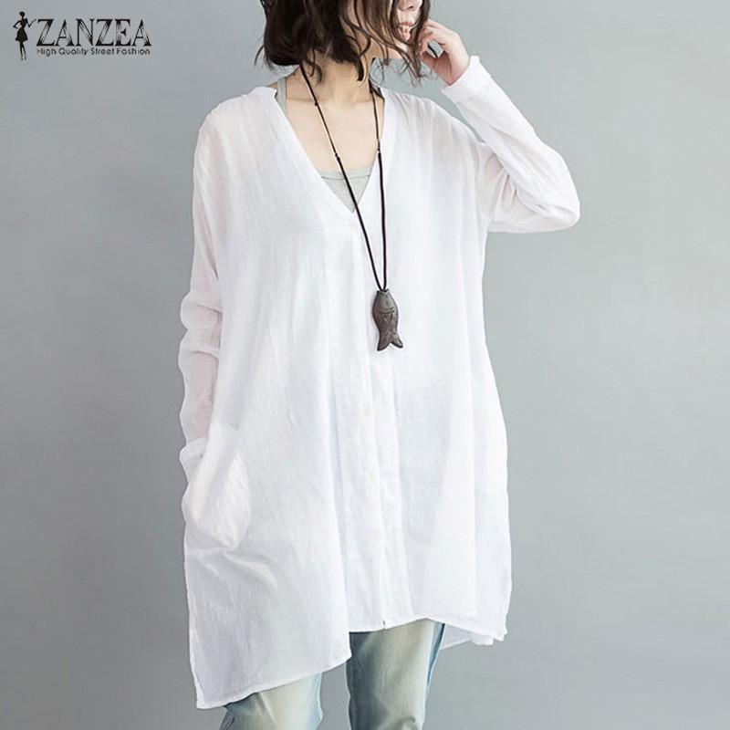 Jual Zanzea Wanita Terlalu Besar Cotton Linen Tombol V Blusas Leher Lengan Panjang Tidak Teratur Split Musim Gugur Fashion Blus Tops Shirt Putih Intl Murah