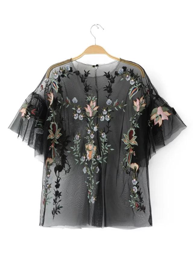Zat Kemeja Di Eropa Dan Amerika Bordir Musim Semi Kemeja Renda Terlihat Langsing (Hitam) baju wanita baju atasan kemeja wanita blouse wanita