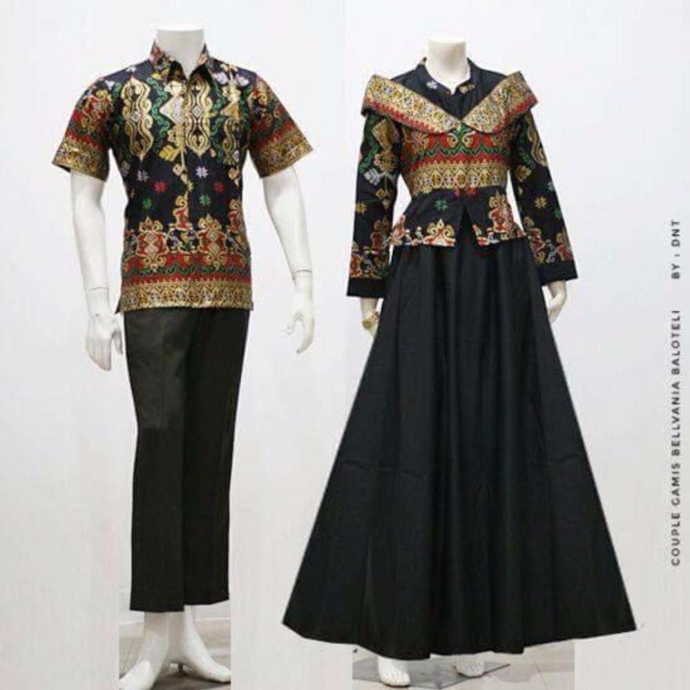 Zaviera Batik Couple Sarimbit Gamis Baju Pesta Belvania - Hitam