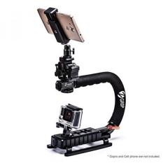 Zeadio Stabilizer Genggam + Tempat Smartphone Universal + Triple Panas Sepatu Adaptor + 360 Derajat Adaptor Putar untuk GoPro Canon, Nikon, pentax, SONY, Panasonic, Samsung dan Kamera Olympus Camcorder-Intl