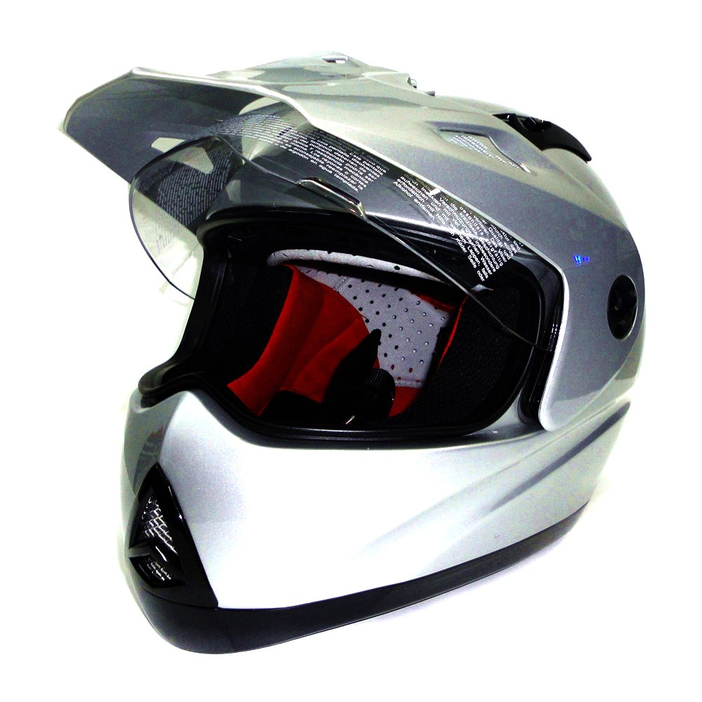 Spesifikasi Zeus Helm Full Face Super Moto Zs2100B Polos Silver Paling Bagus