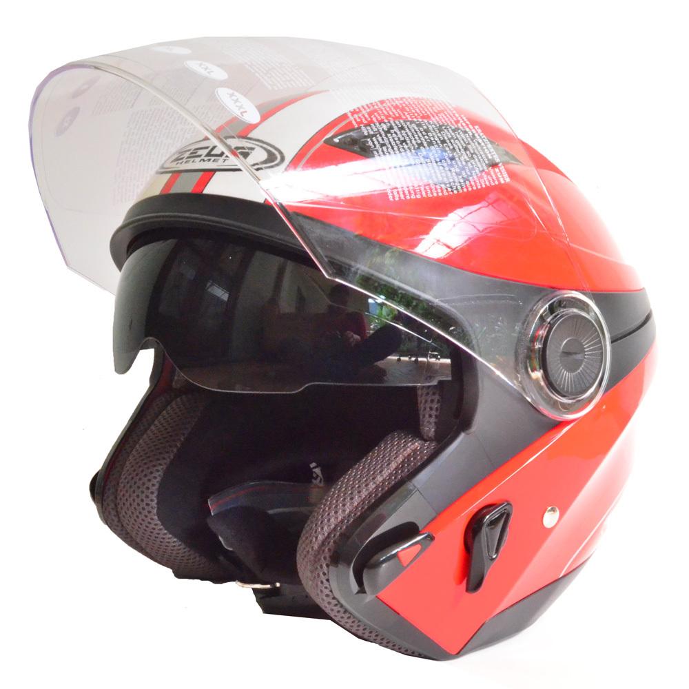 Harga Zeus Helm Half Face Double Visor Zs 610K Grafik Merah 006 Putih Branded