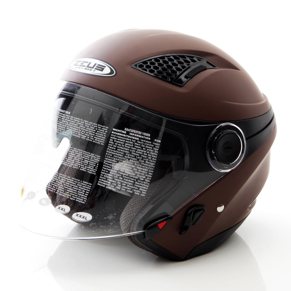 Toko Zeus Helm Half Face Double Visor Zs 610K Polos Coklat Dove Online Di Indonesia