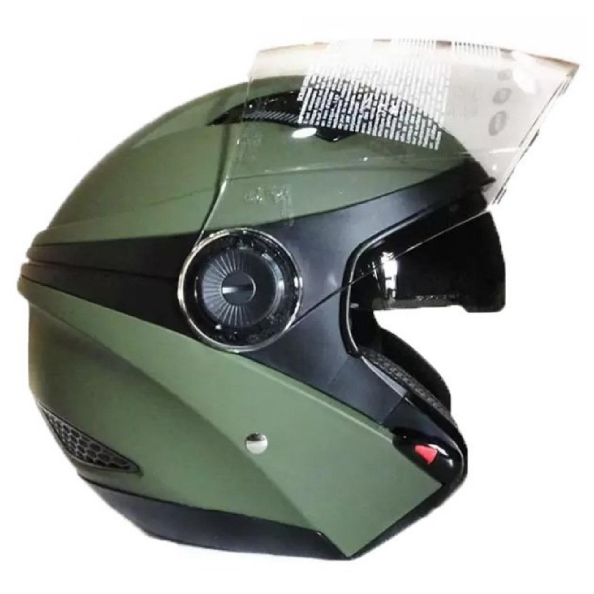 Toko Jual Zeus Helm Half Face Double Visor Zs 610K Polos Hijau Tua Dove