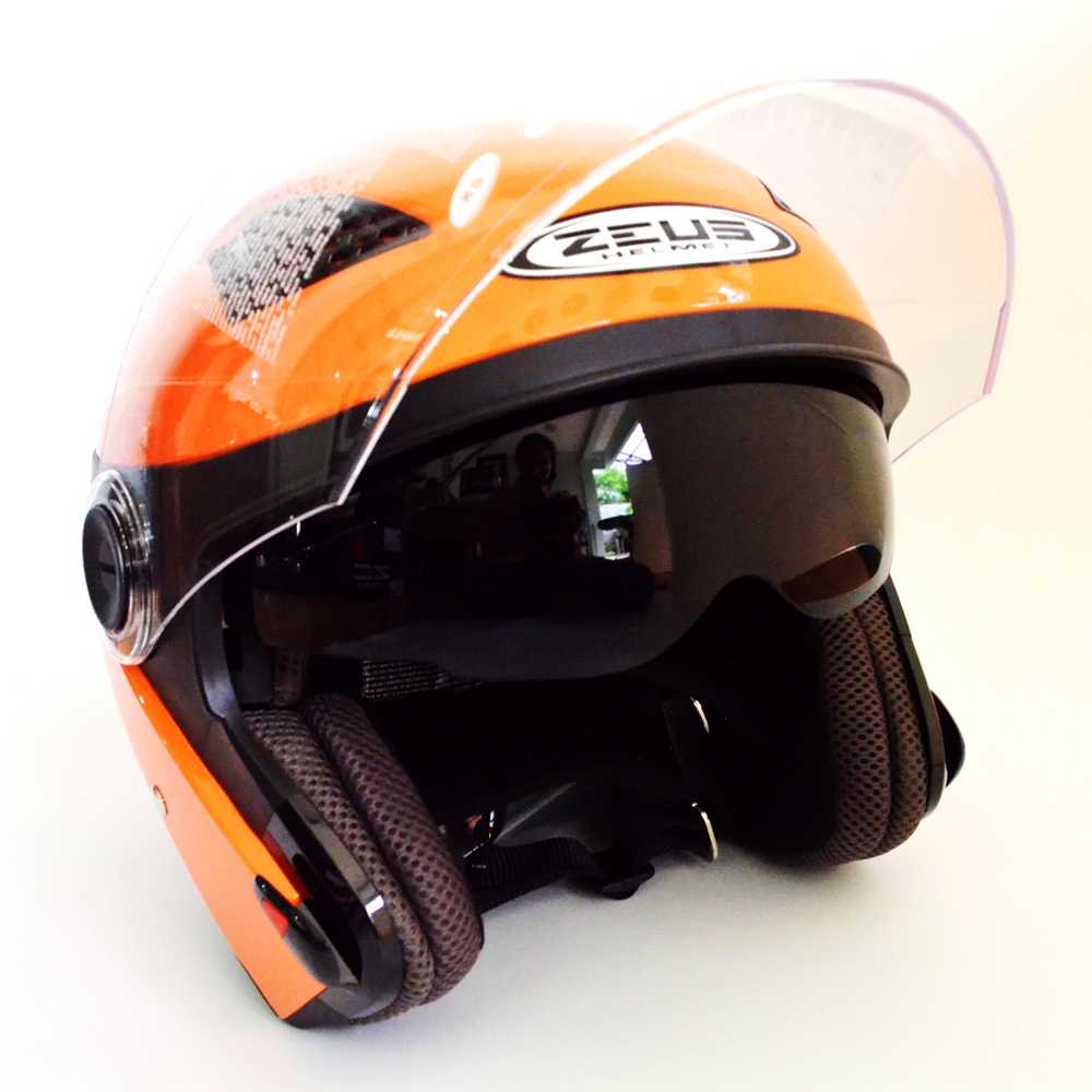 Jual Zeus Helm Half Face Double Visor Zs 610K Polos Orange Zeus Grosir