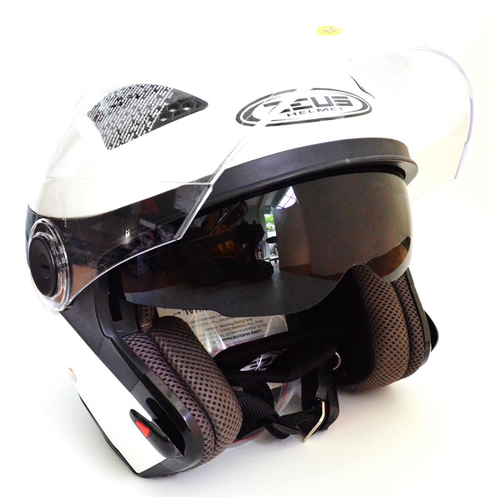 Harga Zeus Helm Half Face Double Visor Zs 610K Polos Putih Fullset Murah