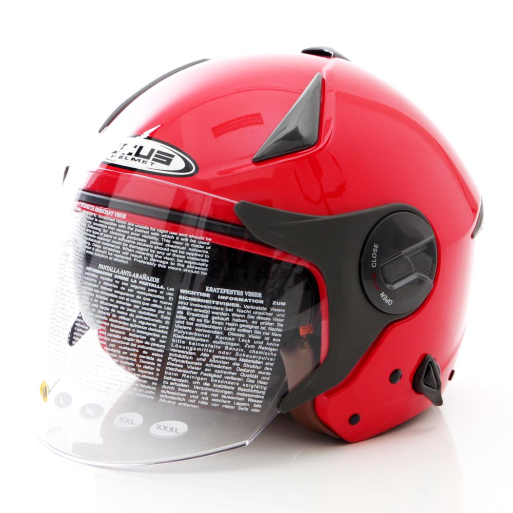 Model Zeus Helm Half Face Double Visor Zs 612A Polos Merah Terbaru
