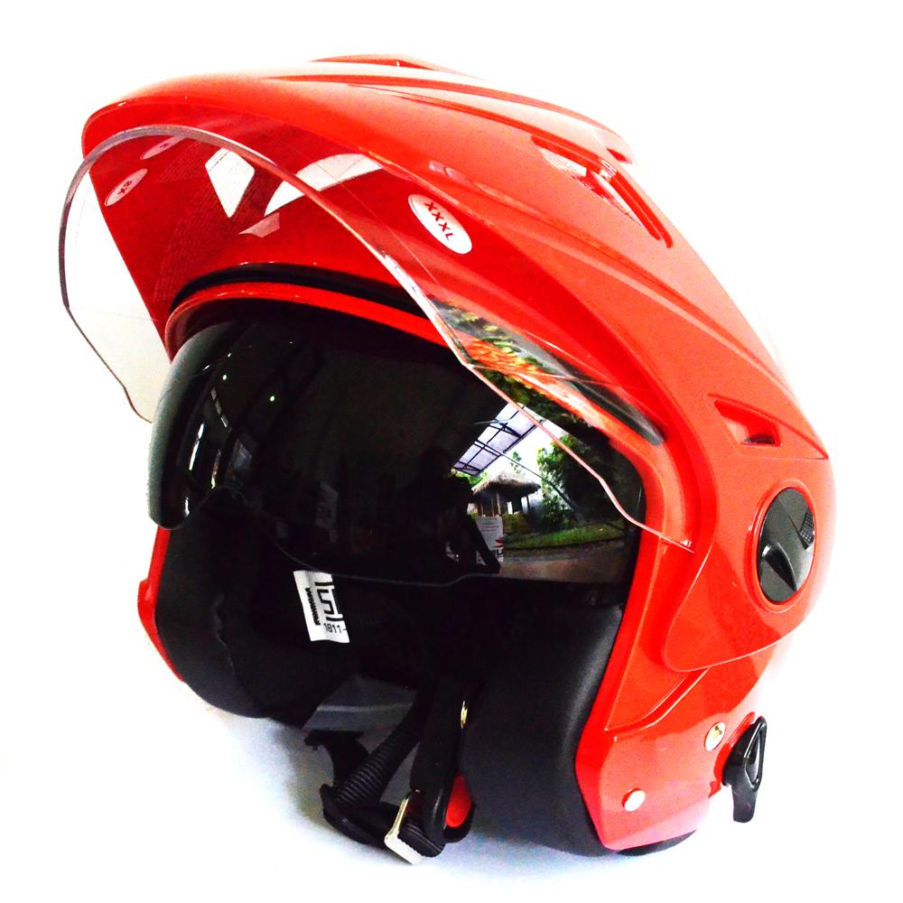 Zeus Helm Half Face Double Visor Zs 612C Polos Merah Diskon Jawa Barat