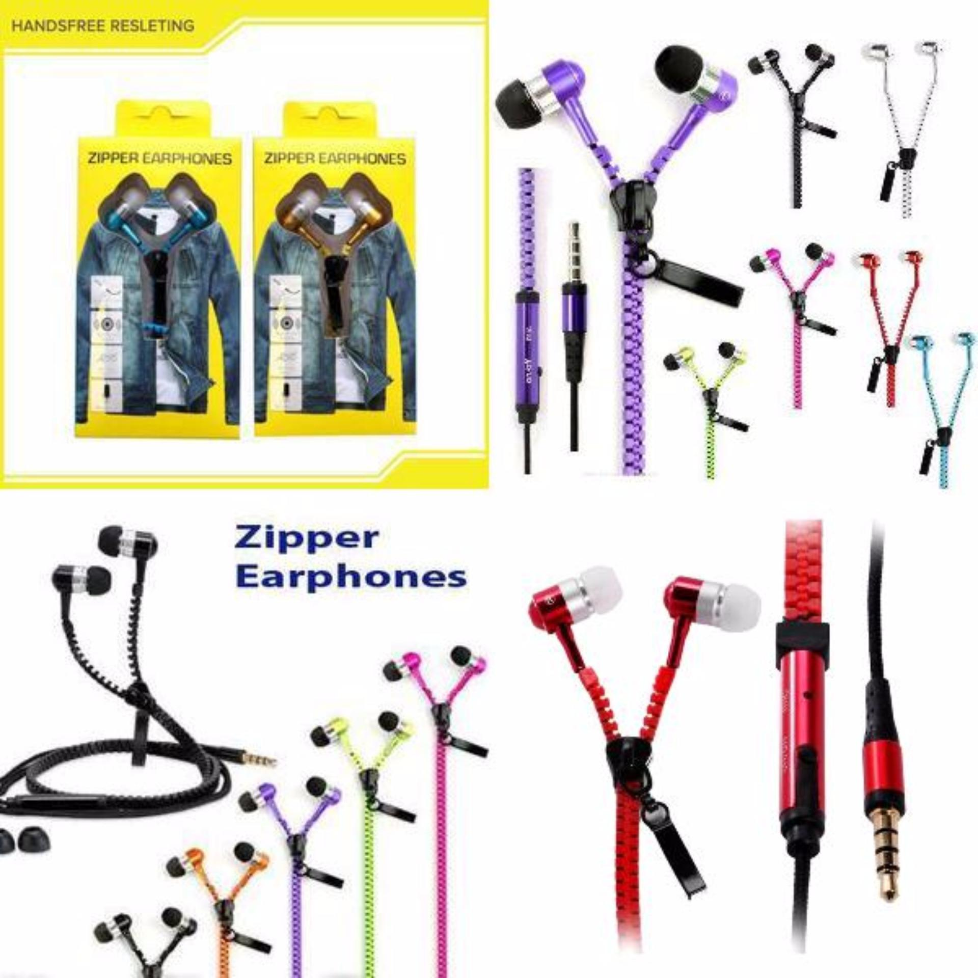Harga Zipper Earphones Handsfree Headset Stereo Bass In Ear Wired Headset 3 5Mm Satu Set