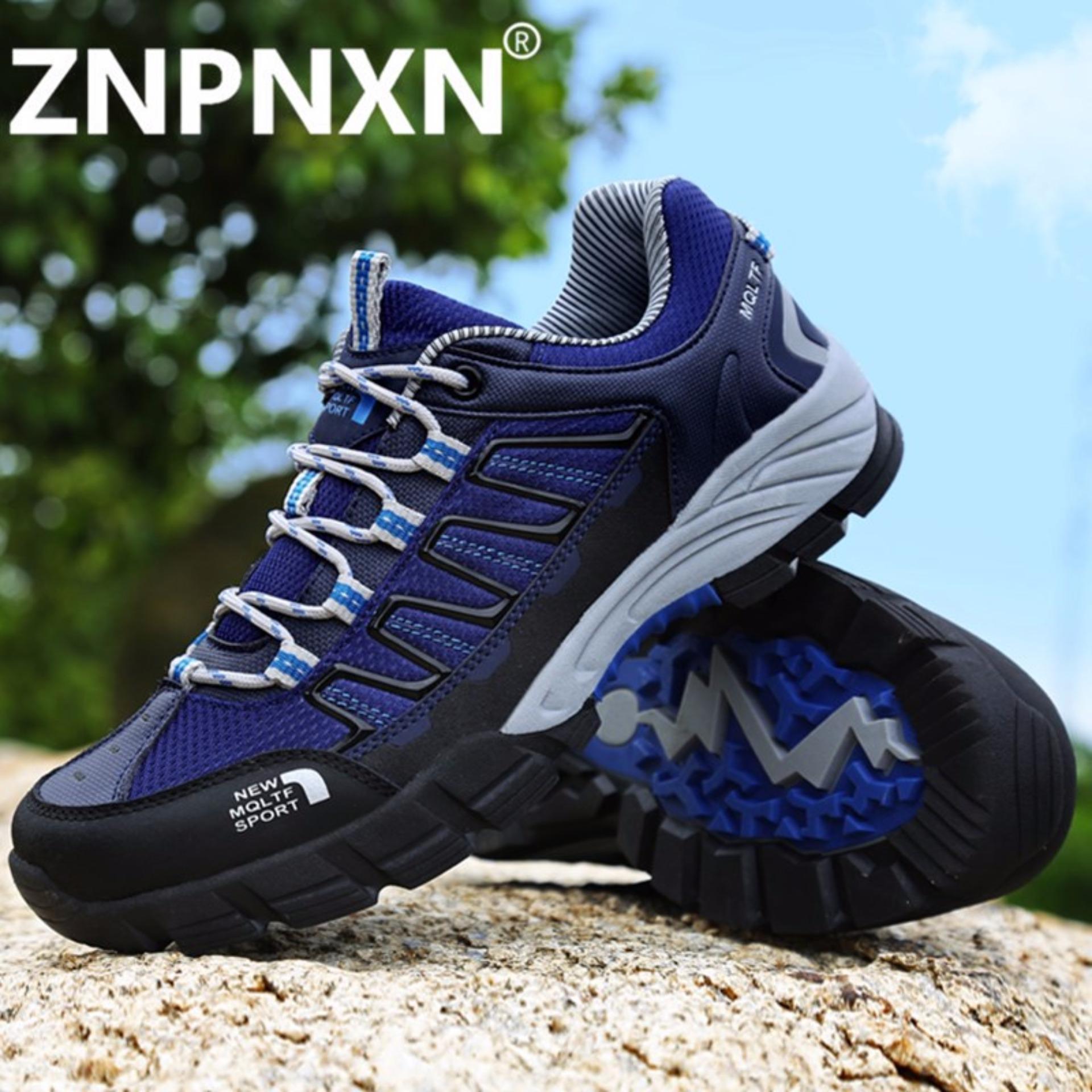 Promo Znpnxn Kaus Waterproof Hiking Sepatu Outdoor Boots Grey Trekking Olahraga Sneakers Pria Breathable Alas Kaki Sepatu Biru Tua Intl Di Tiongkok