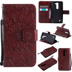 Zoeirc Fashion Sunflower Pelindung Berdiri Dompet Dompet Kartu Kredit Pemegang Magnetic Flip Folio TPU Soft Bumper PU Leather Ultra Slim Fit Case Cover untuk LG G4 MINI-Intl