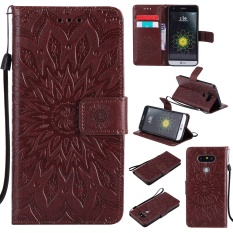 Zoeirc Fashion Sunflower Pelindung Berdiri Dompet Dompet Kartu Kredit Pemegang Magnetic Flip Folio TPU Soft Bumper PU Leather Ultra Slim Fit Case Cover untuk LG G5/H830 H850 H820-Intl