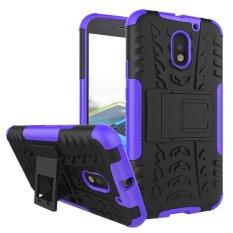 Zoeirc Heavy Duty Shockproof Dual Layer Hybrid Armor Pelindung Cover dengan Kickstand Case untuk Motorola MOTO E (3rd Gen) /MOTO E3-Intl