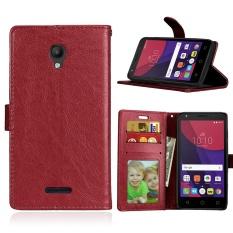 Zoeirc Mewah PU Leather Wallet Flip Protective Case Cover dengan Slot Kartu dan Stand untuk Alcatel One Touch POP Star OT5022 5022D-Intl