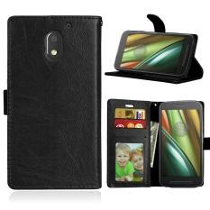 Zoeirc Mewah PU Leather Wallet Flip Protective Case Cover dengan Slot Kartu dan Berdiri untuk Motorola MOTO E3 (3rd GEN) -Intl