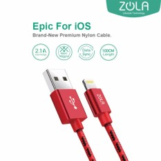 Zola Epic Kabel Data & Charging iPhone Lightning 100cm Nilon Fast Charge 2.1A - Merah