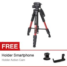 ZOMEI Q111 Camera Tripod - Merah - for DSLR EOS Canon Nikon Sony Gopro Xiaomi + Free Holder L + Action Cam Adapter
