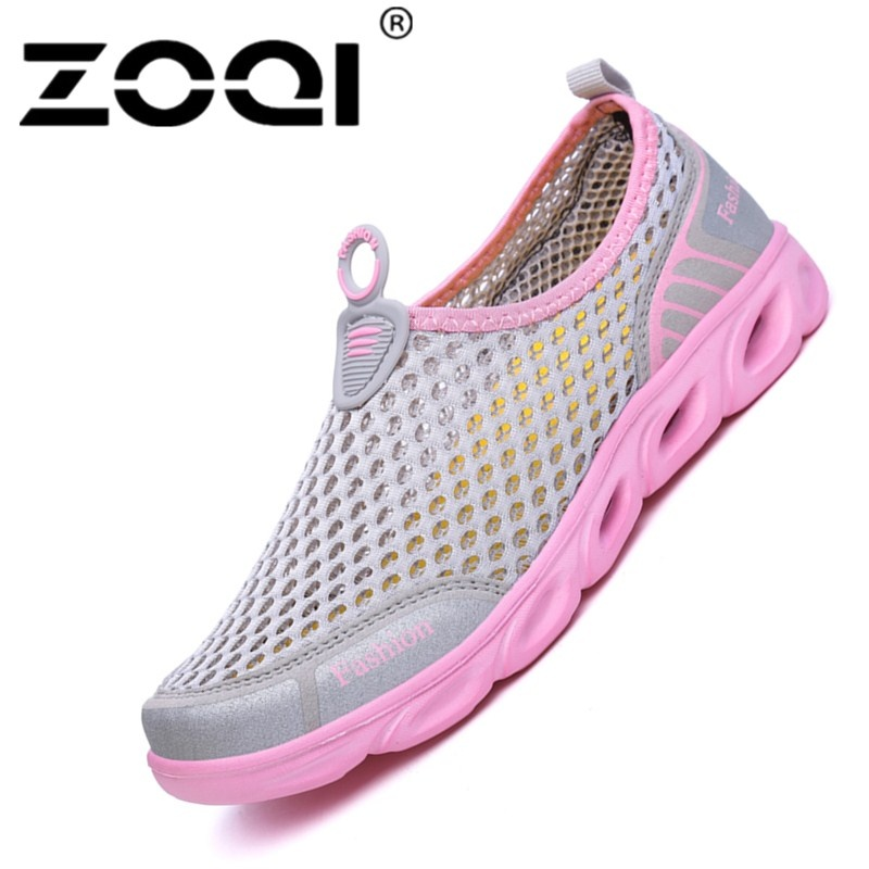 Spek Zoqi Men S And Women S Fashion Mesh Light Breathable Sport Shoes Water Shoes Pink Intl Tiongkok