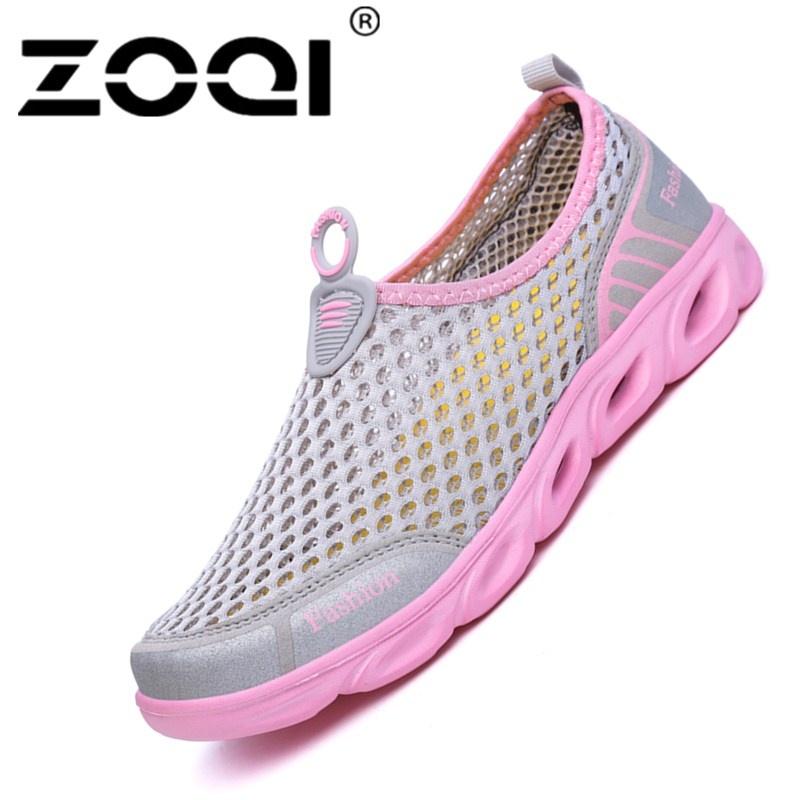 Promo Zoqi Pria And Wanita Fashion Mesh Light Bernapas Olahraga Sepatu Air Sepatu Merah Muda Akhir Tahun