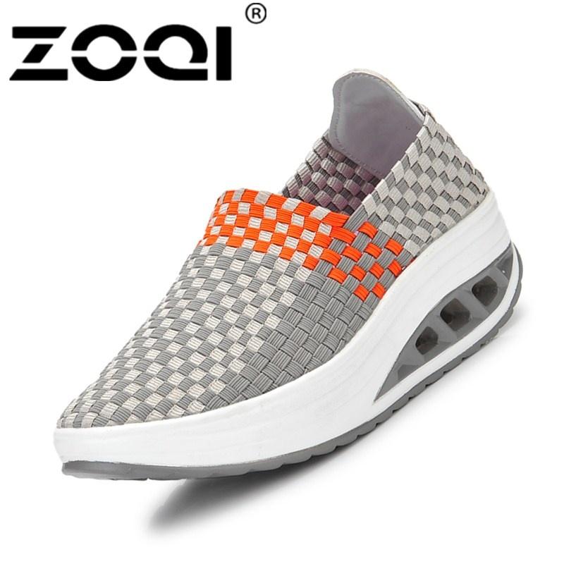 ZOQI Wanita Sepatu Santai Bernapas Handmade Woven Sepatu Nyaman Ringan Flat  Shoes (Grey) c250412d0e