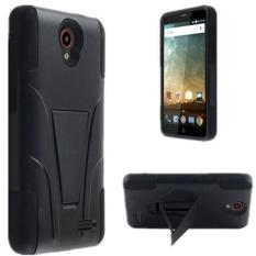 ZTE Sonata 3 Telepon Case ZTE Avid PLUS Telepon Case [Storm Membeli] Keras & Lembut Kokoh Tahan Lama guncangan Cangkang Pelindung [Anti Gores] Tutup dengan Dibangun Di Stand Penyangga (Fusion Hitam) -Internasional