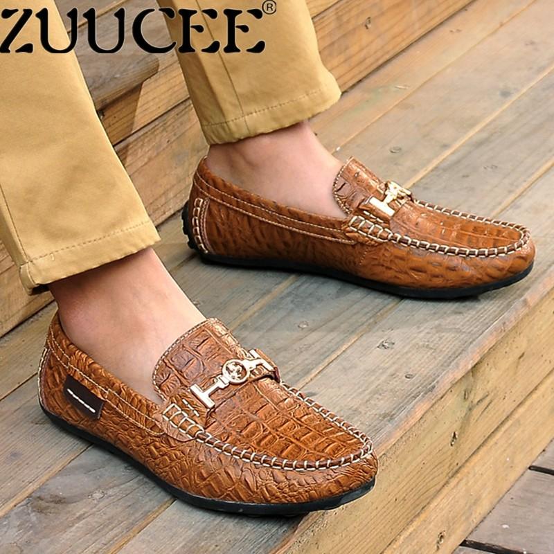 Zuucee Modis Klasik Pria Loafer Kulit Asli Kacang Polong Sepatu Pola Kulit Ular Selip-On (Coklat) -Internasional