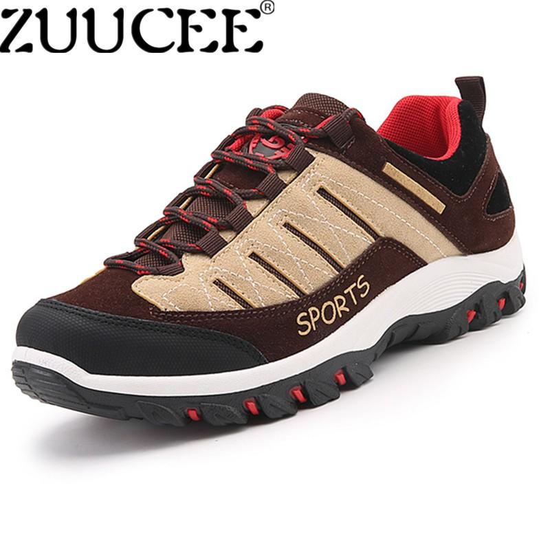 Zuucee Pria Ukuran Besar Daki Gunung Sepatu Luar Ruangan Sepatu Pakai-tahan Non-slip Sepatu (Coklat)-Internasional