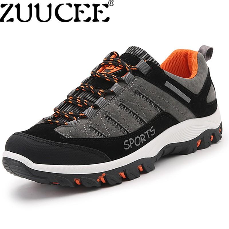 Zuucee Pria Ukuran Besar Daki Gunung Sepatu Luar Ruangan Sepatu Pakai-tahan Non-slip Sepatu (Gray)-Internasional