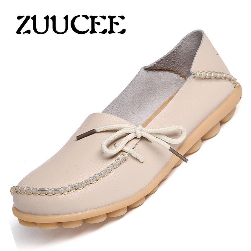 Beli Zuucee Musim Semi And Panas Musim Model Kulit Peas Sepatu Wanita With Dangkal Telapak Sepatu Sepatu Bersol Lembut Ibu Sepatu Hollow Hamil Wanita Sepatu Flat Angin Angin Sepatu Beige Lengkap